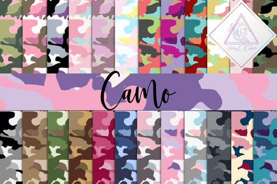 Camo digital paper, army seamless patterns, camouflage scrapbooking.