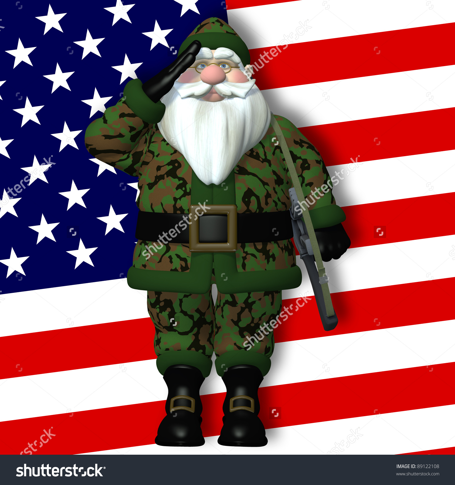Military Santa Saluting Santa, In Front Of An American Flag.