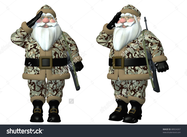 Military Santa Saluting Santa Wearing Forest Stock Illustration.
