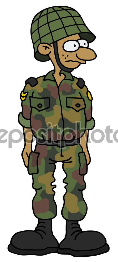 Funny soldier in a battle dress — Stock Vector © 2v #104607870.