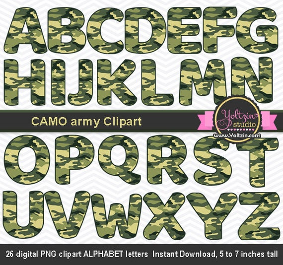 CAMO clipart army, camo Alphabet clipart, camouflage clipart green, digital  clip art png images INSTANT DOWNLOAD.