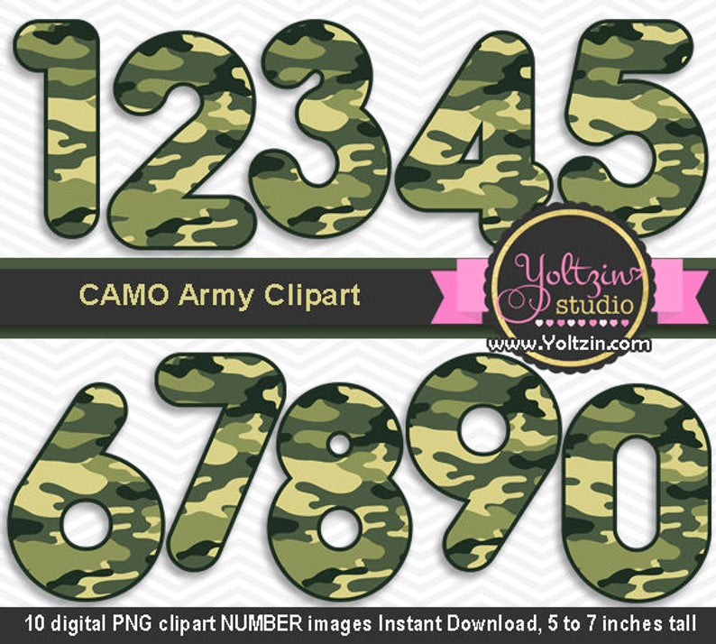 Camo clipart numbers, army camouflage Clip art , camo green clipart number  numbers png images digital scrap digiscrap INSTANT DOWNLOAD.