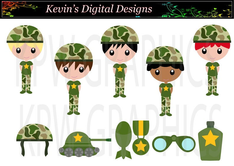 Military Army Boys in Green Camouflage Clip.