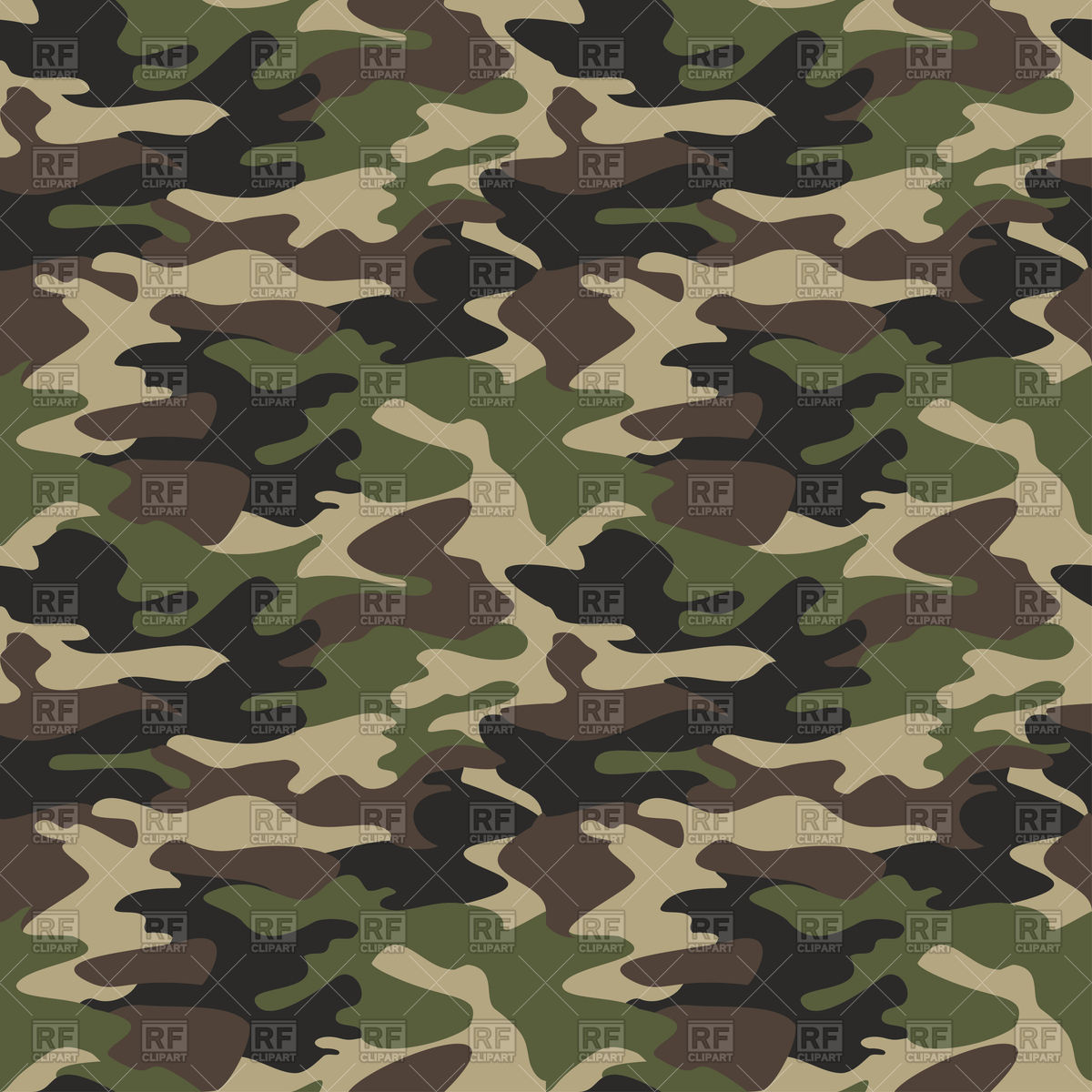 Camouflage seamless pattern, classic military texture Stock Vector Image.