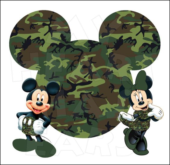 Camo Mickey & Minnie Mouse.