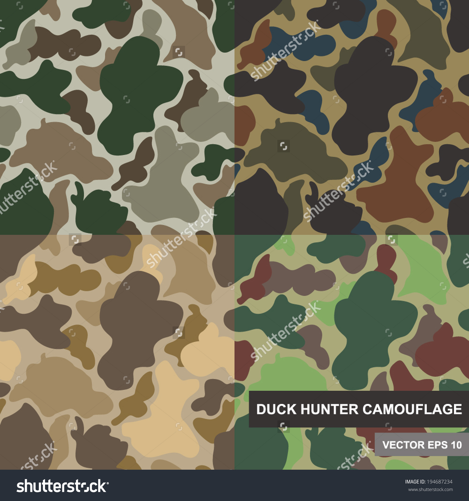 Set Seamless Camouflage Pattern Duck Hunter Stock Vector 194687234.
