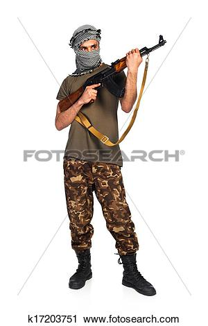 Stock Photography of Arab nationality in camouflage suit and.