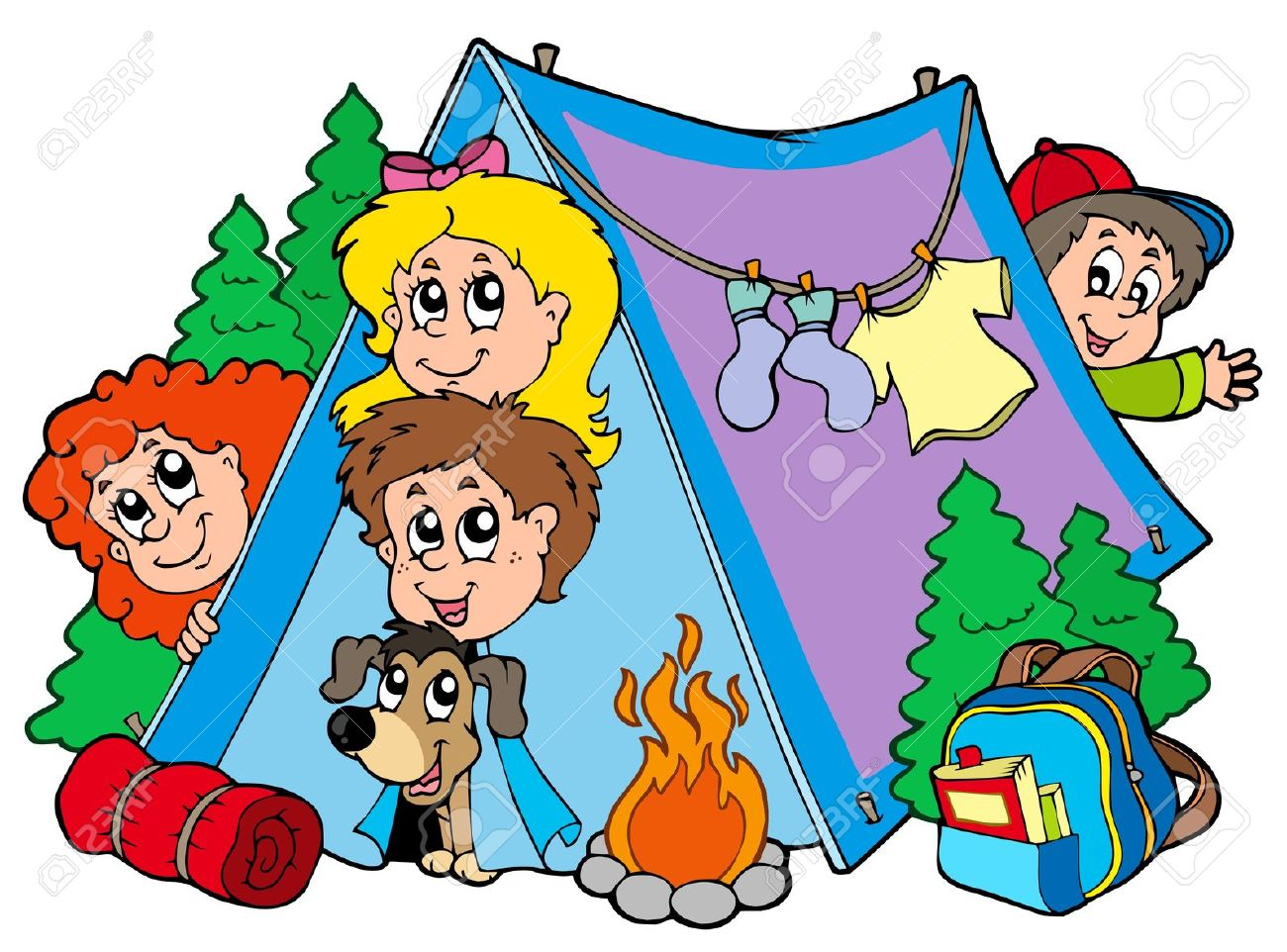 Kids camp clipart.
