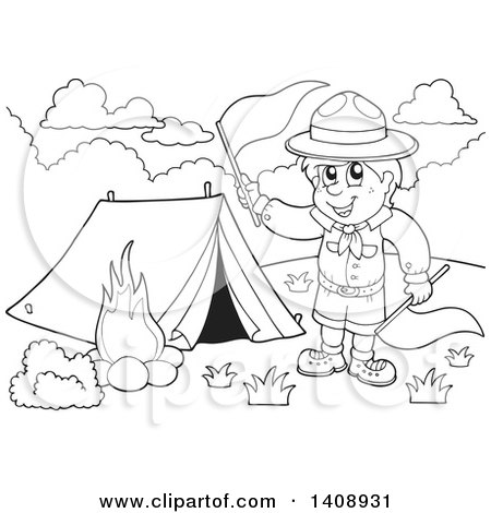 Black and white camping clipart 1 » Clipart Station.