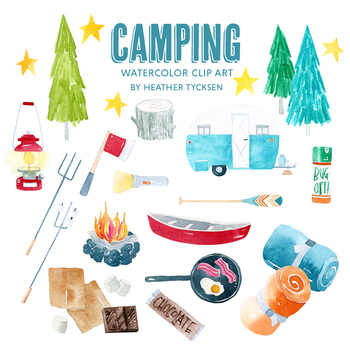 Camping Clipart Camping Party Invite Camping Adventure Clip Art Travel  Stickers.