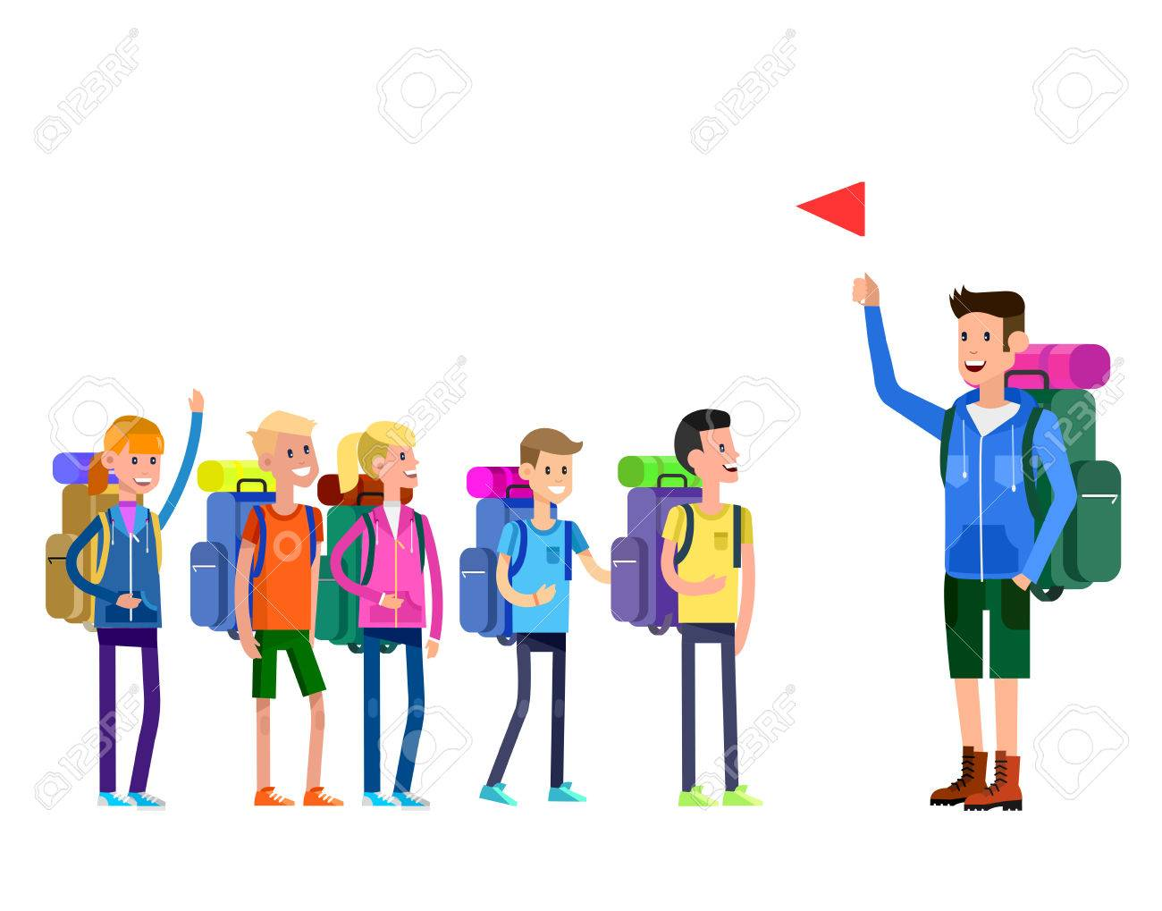 vector illustration of kids summer camp. Vector characters ...
