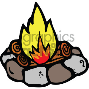camping fire clipart . Royalty.