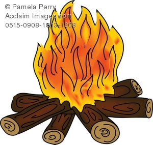 Clip Art Illustration of a Campfire With Orange Flames.