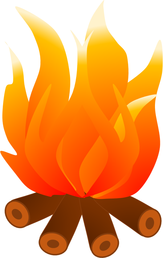 Camp fire flames clipart.