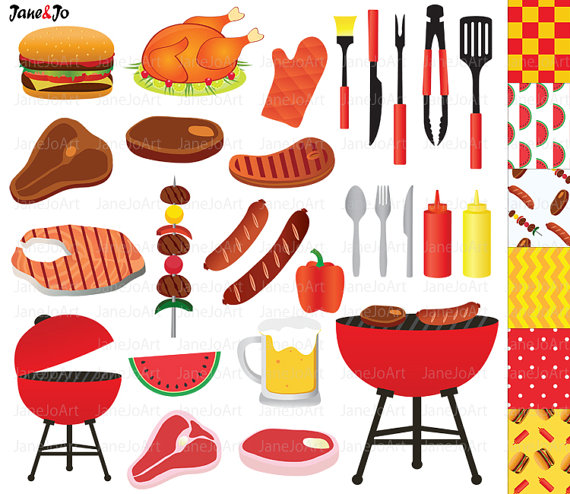 BBQ Clipart , Barbeque Clipart , Summer Clipart ,Grill Party Food.