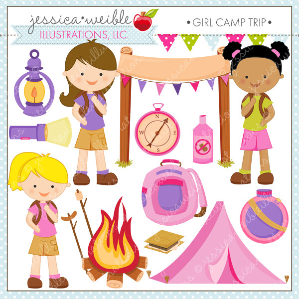 Girl Camp Trip Cute Digital Clipart for Commercial or Personal.