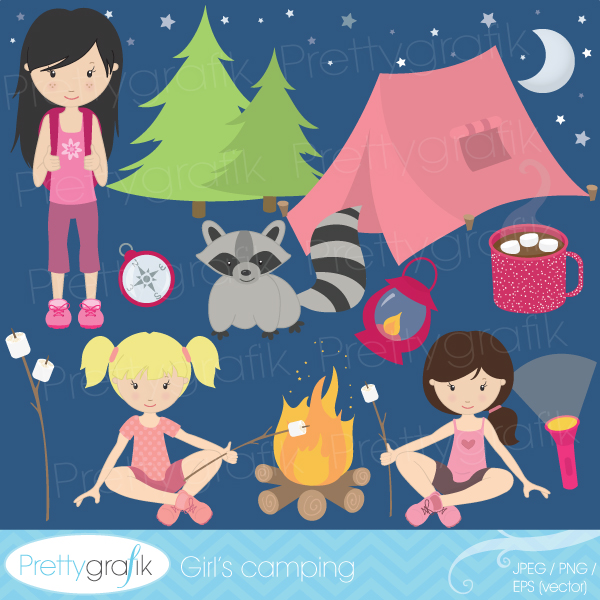 Camp Art Girl Clipart.