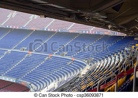 Picture of Football stadium Camp Nou interior stands in Barcelona.