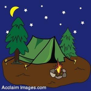 Clip Art of a Pup Tent at a Campsite at Night.
