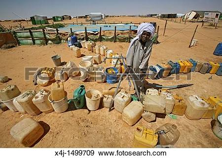 Stock Photograph of water well in a sudanese refugee camp in Chad.
