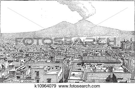 Clip Art of City of Naples, in Campania, Italy, vintage engraving.