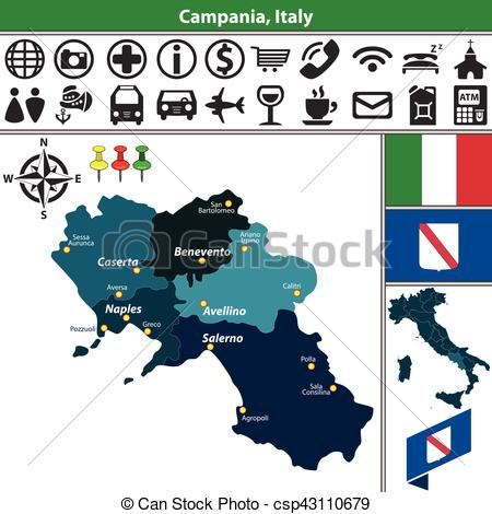 Vectors Illustration of Campania with regions, Italy.
