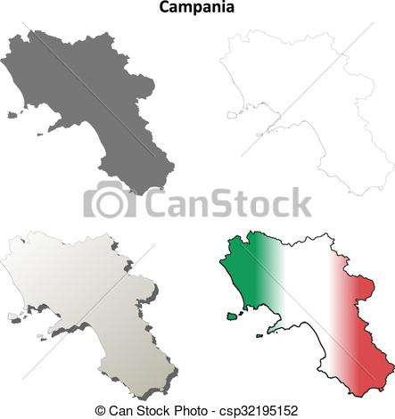 Clipart Vector of Campania blank detailed outline map set.
