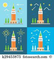Campanile Clip Art Royalty Free. 28 campanile clipart vector EPS.