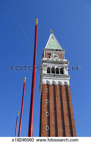 Stock Photography of The Campanile tower with flag.