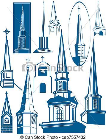 Illustrazioni vettoriali di collezione, campanile.