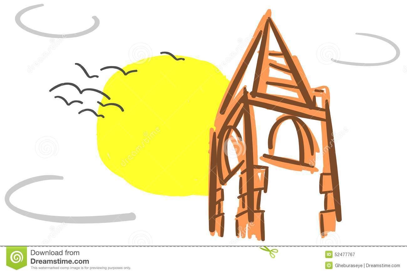 Dettaglio Stilizzato Di Un Campanile Isolato Illustrazione.