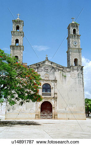 Picture of tepacan, hispanic, mexico, campeche, church u14891787.