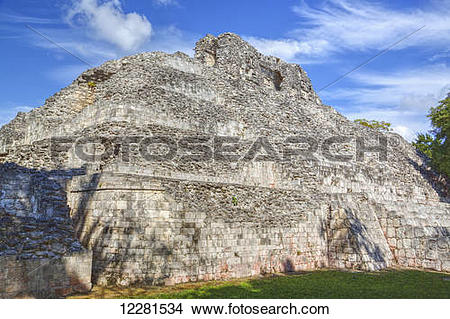 Stock Photo of Structure X, Becan, Mayan Ruins; Campeche, Mexico.