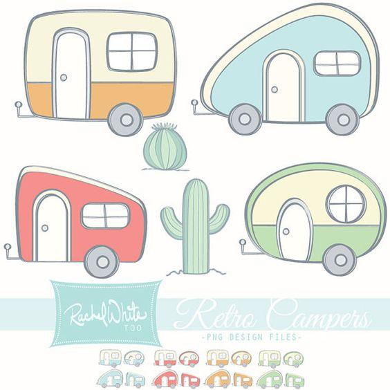 Retro Campers Clip Art Set 24 images Color & by rachelwhitetoo.