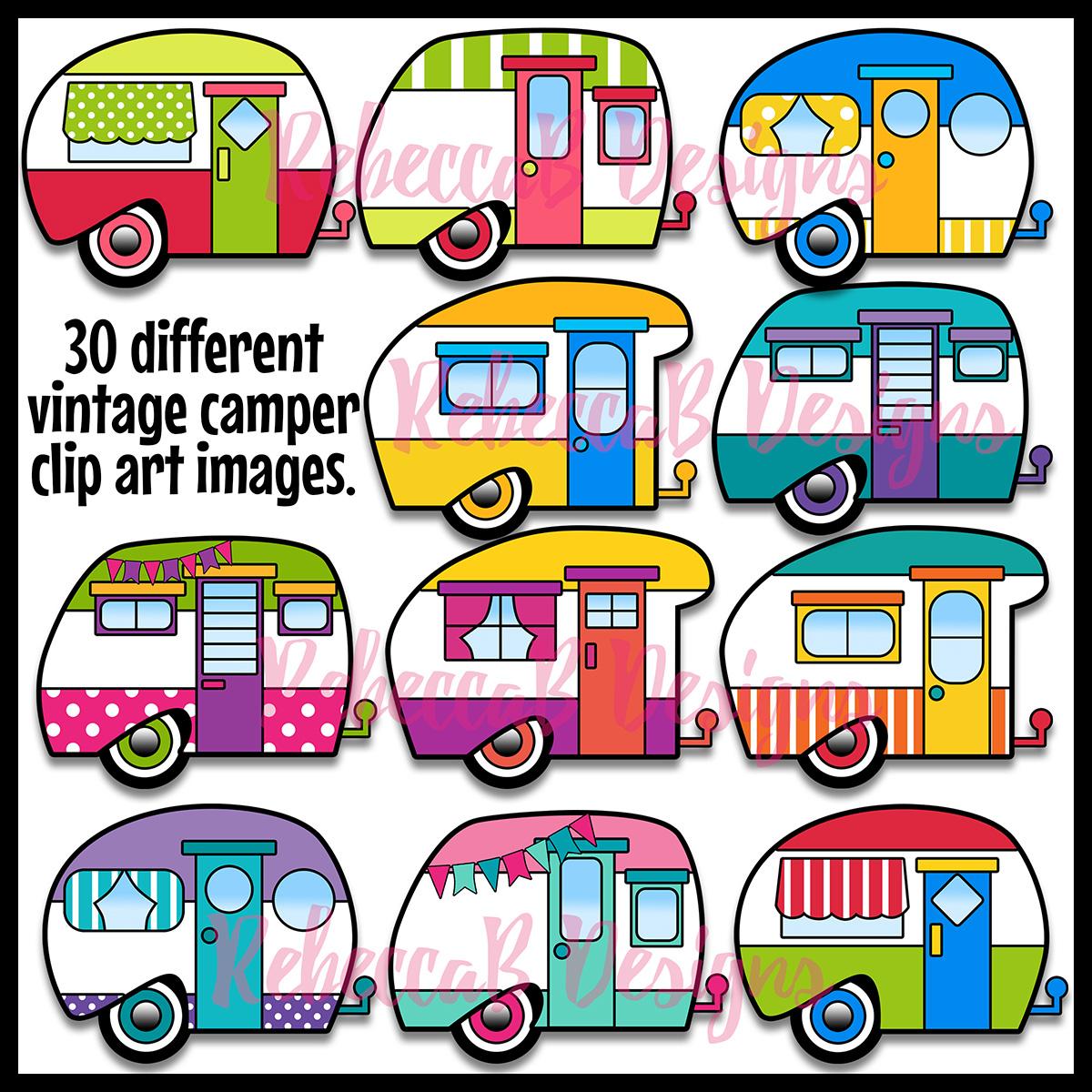 Resource Type :: Clip Art :: Vintage Camper Clip Art, Retro Camper.