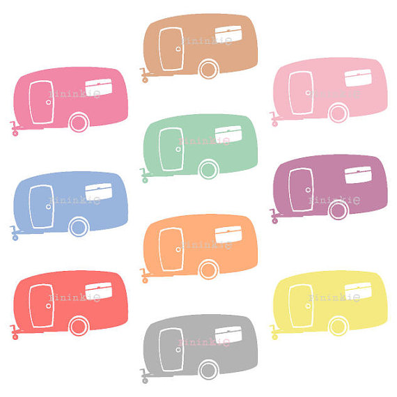 Retro Clipart, Summer Clipart, Camping Clip Art, Camper, Caravan.