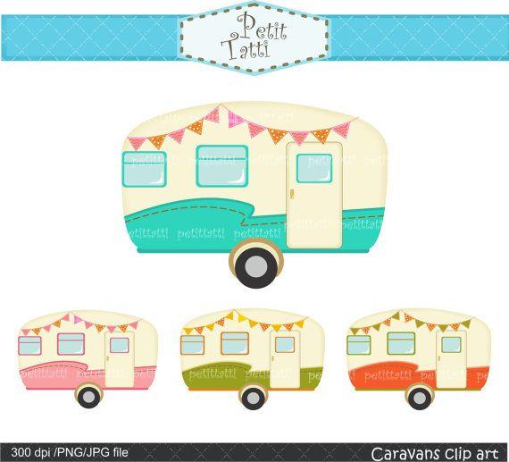 Vintage caravan clipart., car clipart, retro caravans clipart.