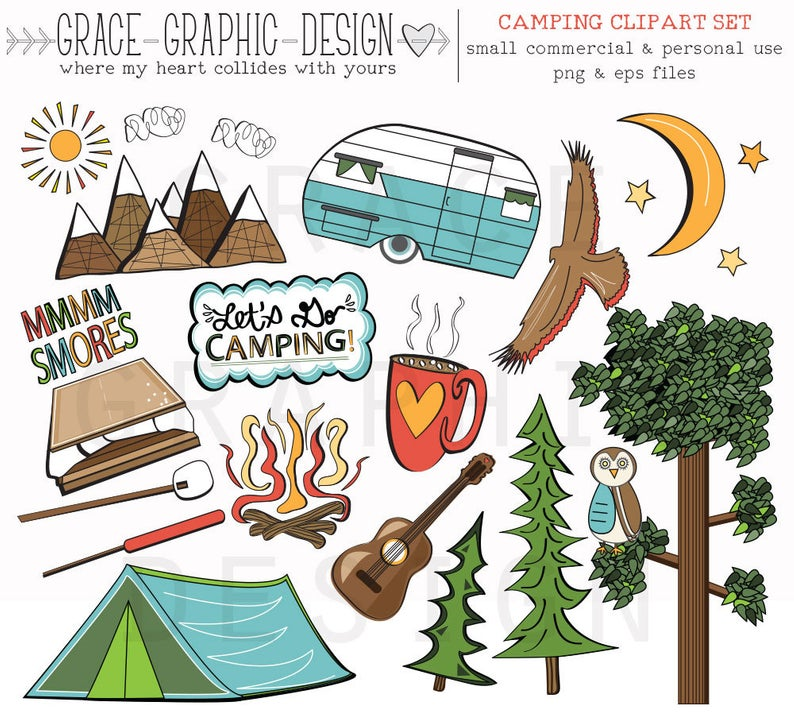 CAMPING CLIPART, camper clipart, nature clipart, digital illustrations,  instant download eps summer camping clipart set, digital paper pack.