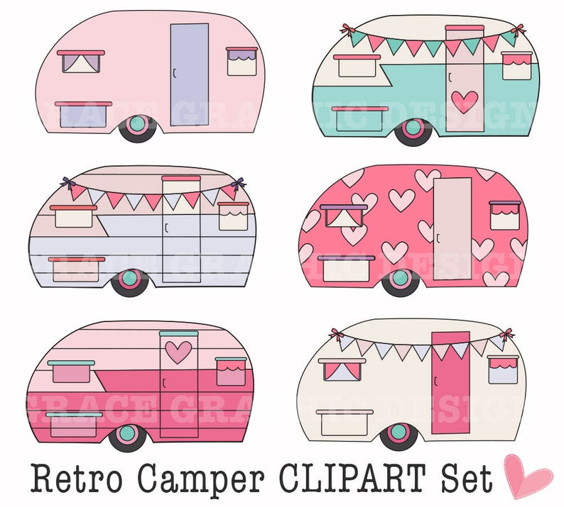Retro Camper Clipart, Clipart, Camping Clipart, DIY Digital Art, Camping  Clipart, Small Commercial Use Clipart, PNG, Pink Bunting Banner.