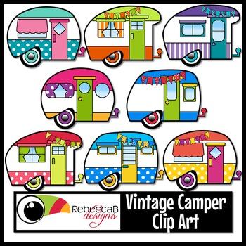 Vintage Camper Clip Art, Retro Camper Clipart.