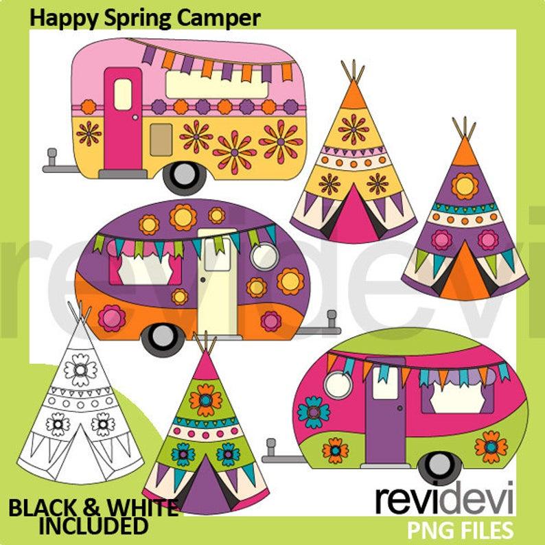 Happy Spring Camper clipart.