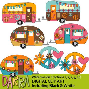 Caravan clip art / Retro hippie camper peace sign clipart.
