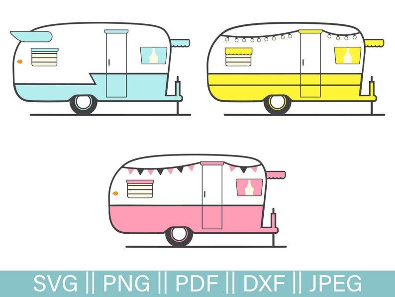 Retro Rv Cut Files SVG Camper Pack SVG Cutting File Retro Trailer Cut File  Glamping Cut Files Retro Camper PNG Trailer Clip Art Dxf.