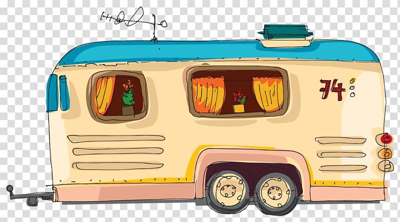 Brown camper trailer illustration, Caravan Caravan.