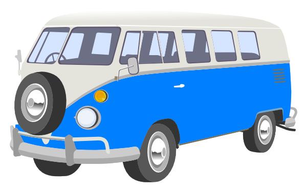 Camper Van Blue Clipart.