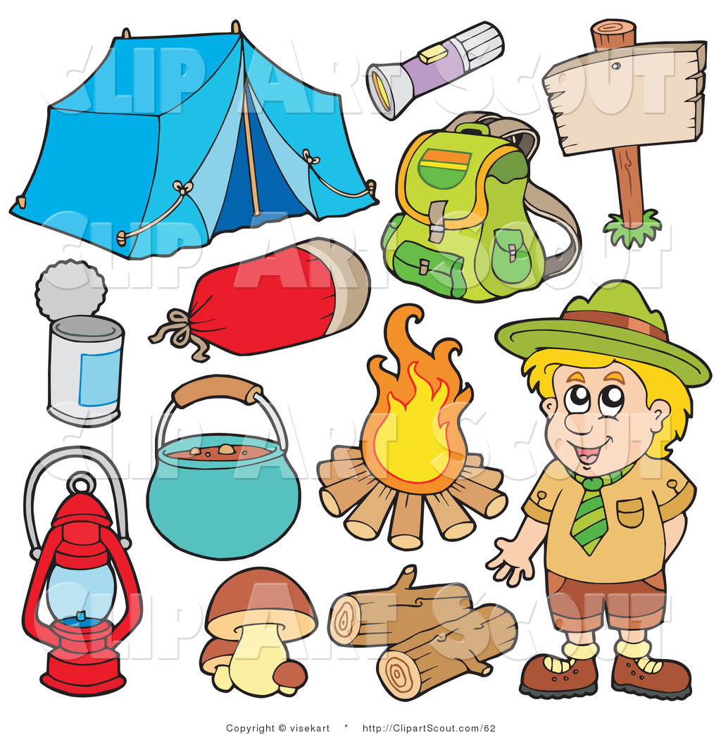 Clipart Of A Digital Collage Smiling Camper And Camping Gear By