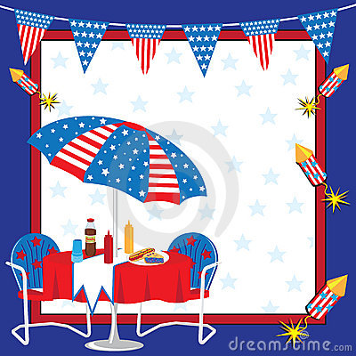 4th Of July Clip Art Party Elements Stock Image.