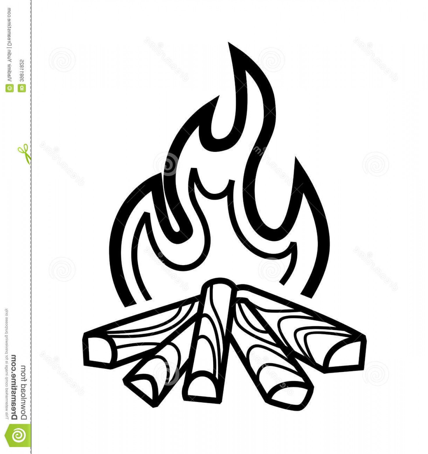 Royalty Free Stock Photo Campfire Icon Vector Black White Background.