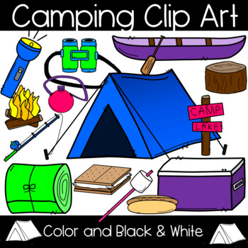 Camping Clip Art: Tent, Canoe, Campfire, S'more, Cooler and more!.