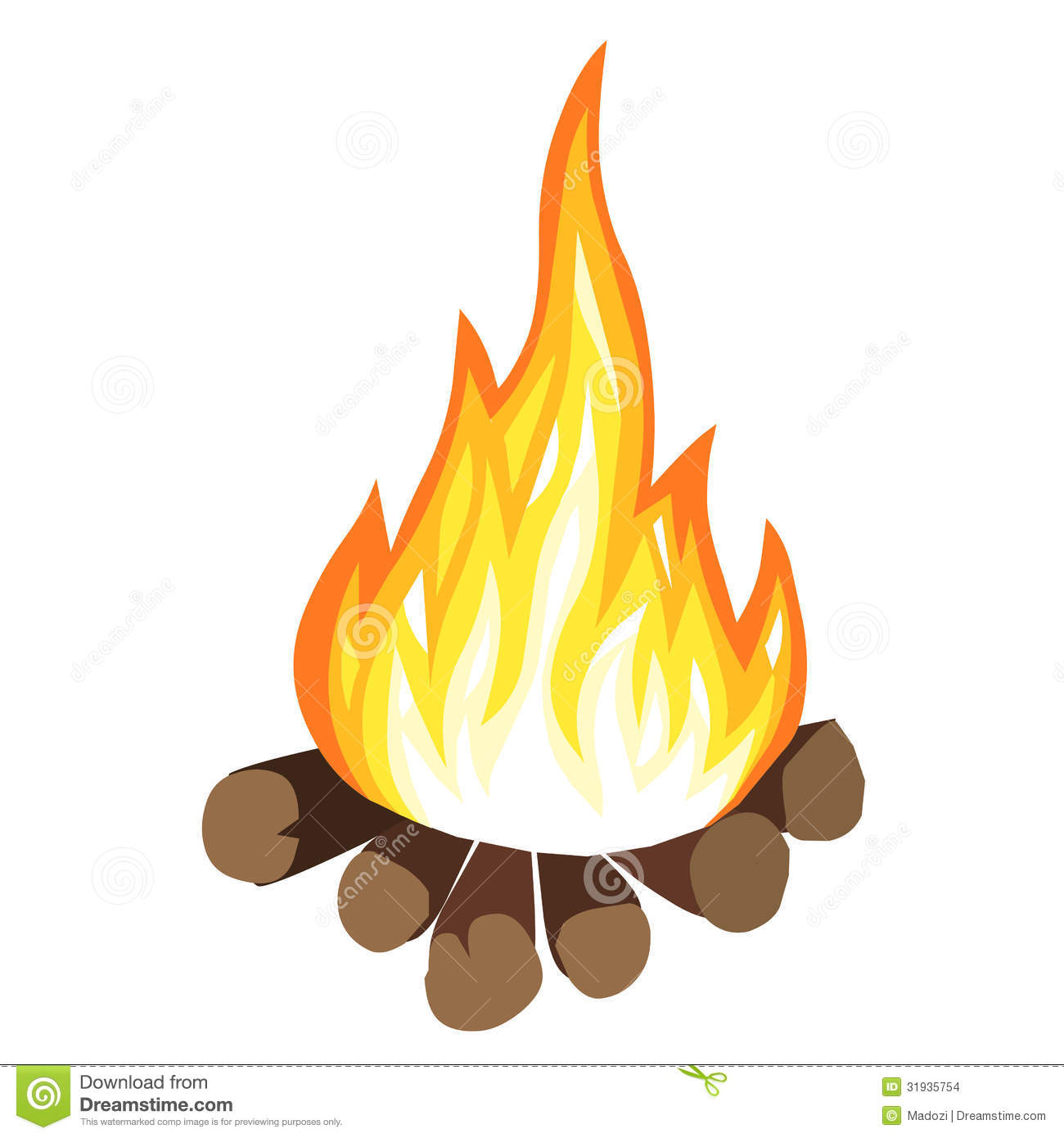 Black And White Campfire Clipart.
